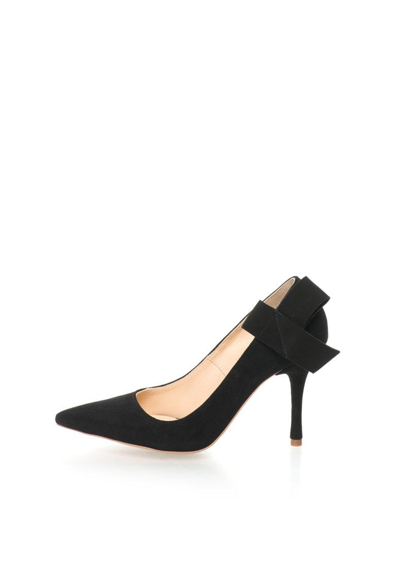 Pantofi stiletto negri de piele intoarsa cu funda deconstruita