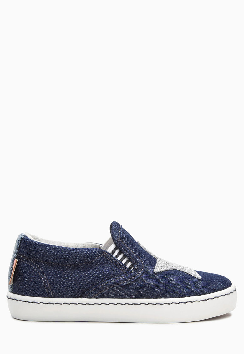 Pantofi slip-on albastri din denim cu particule stralucitoare