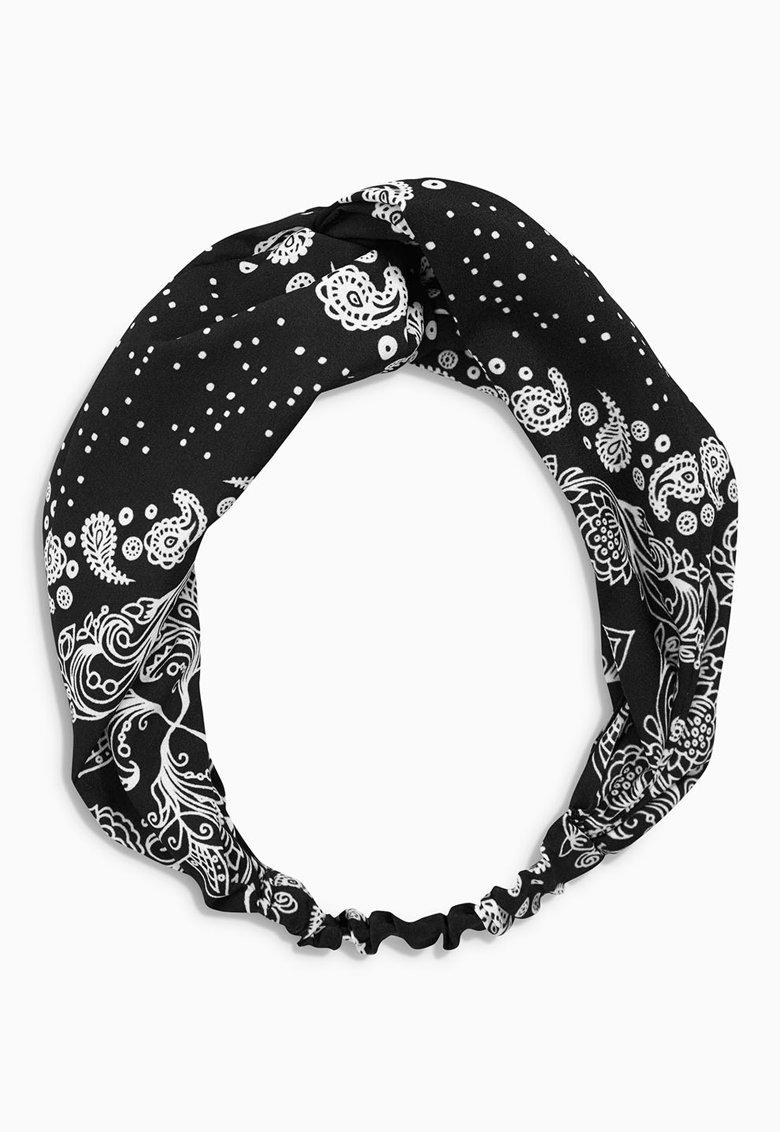 NEXT Bentita negru si alb cu model floral si design innodat U