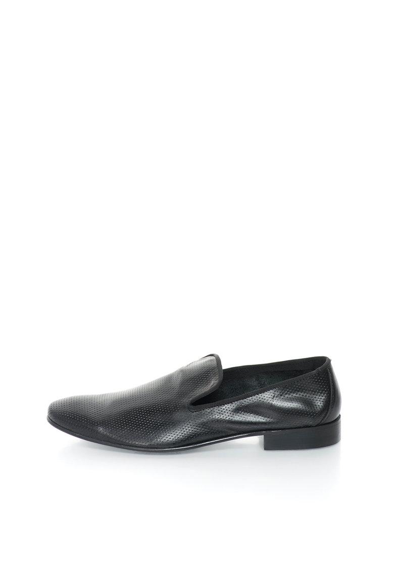 Versace 1969 Abbigliamento Sportivo Pantofi loafer negri de piele Felix