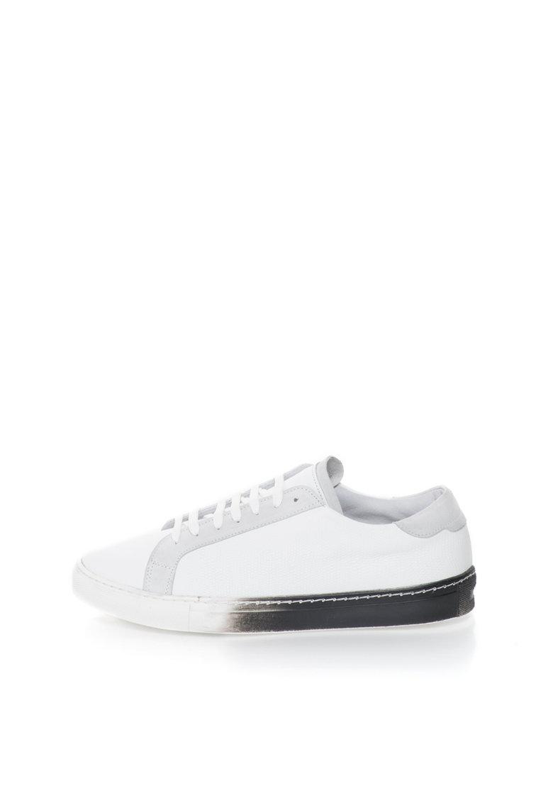 Versace 1969 Abbigliamento Sportivo Pantofi sport alb cu gri de piele Laurent