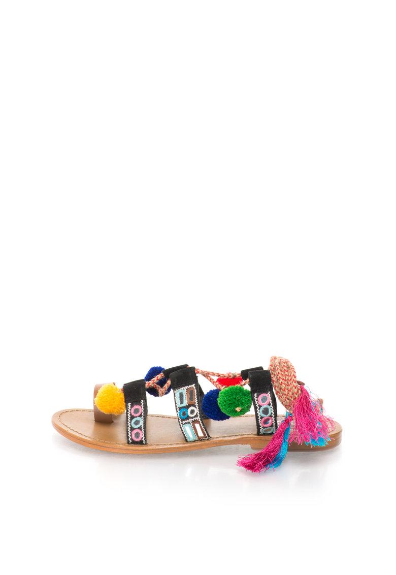 WHITE SUN Sandale multicolore cu bareta separatoare si ciucuri