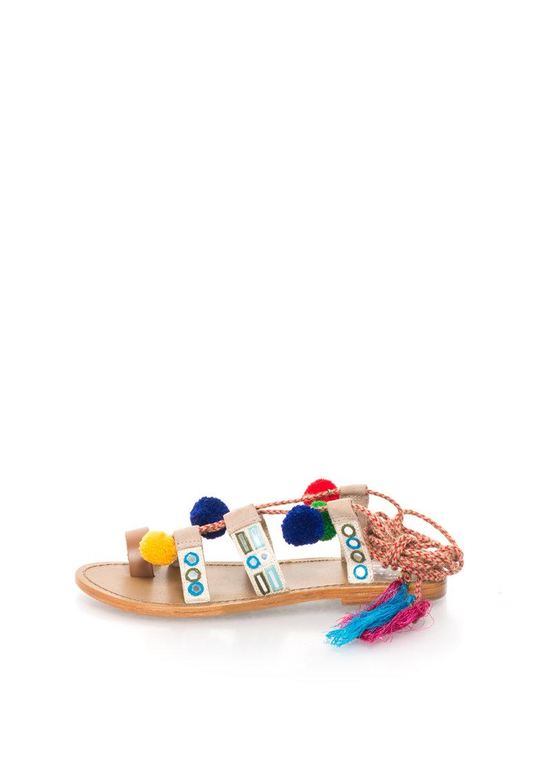 WHITE SUN Sandale multicolore cu snururi infasurabile si canafi