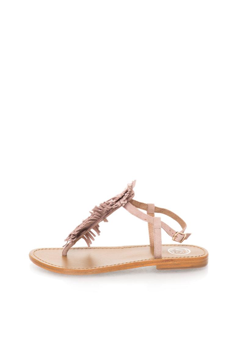 Sandale roz prafuit de piele intoarsa cu bareta in T de la WHITE SUN