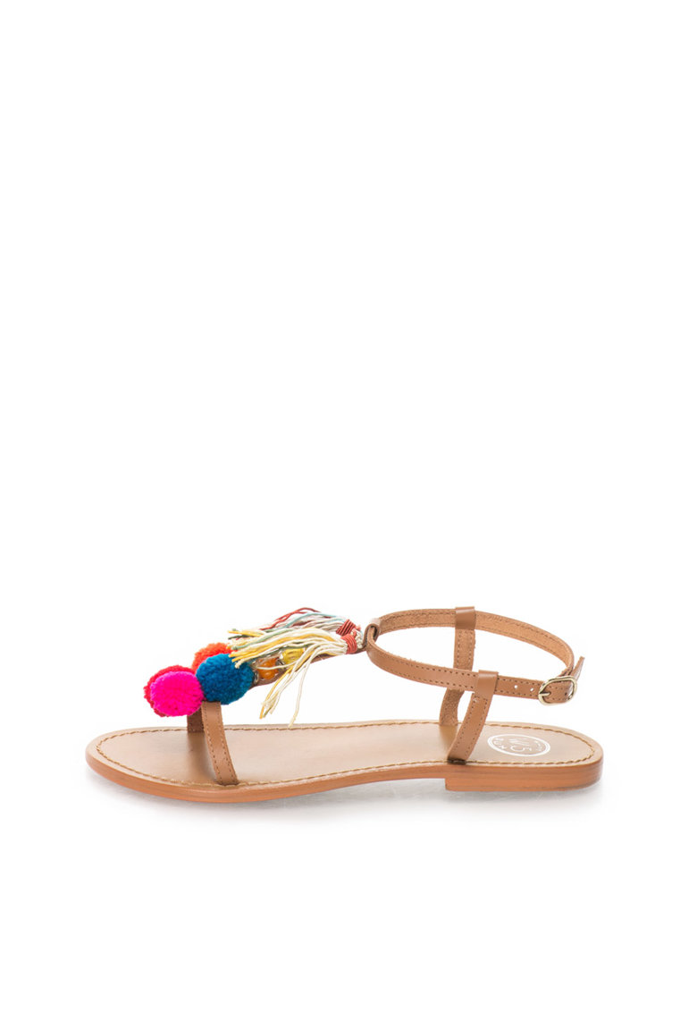 WHITE SUN Sandale maro de piele cu ciucuri