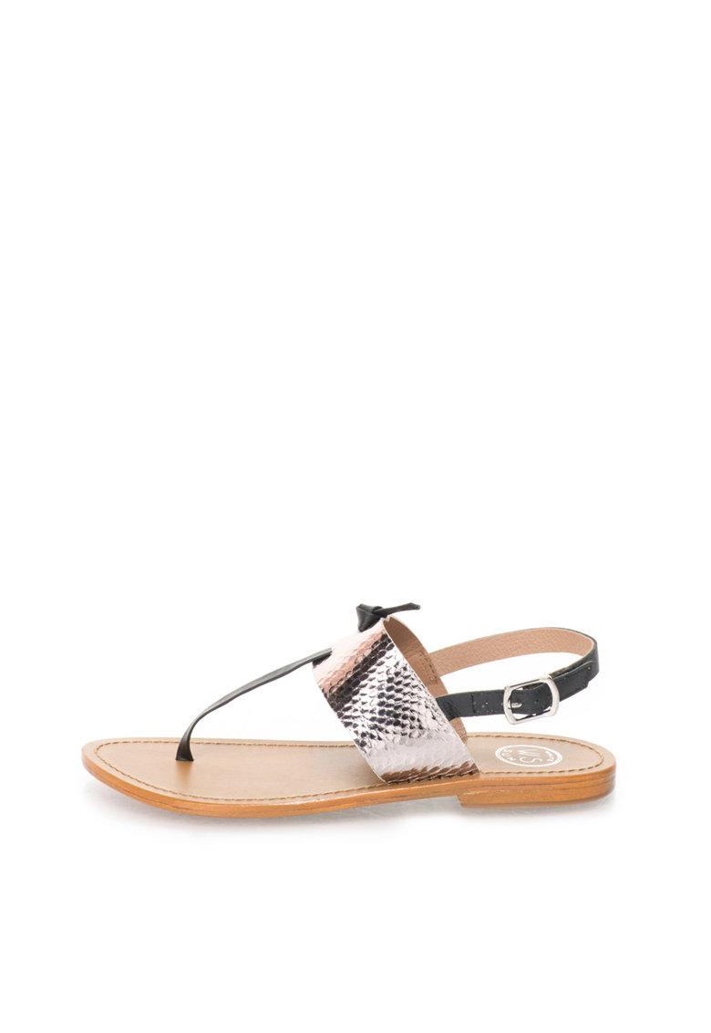 WHITE SUN Sandale negru cu argintiu de piele si cu bareta separatoare