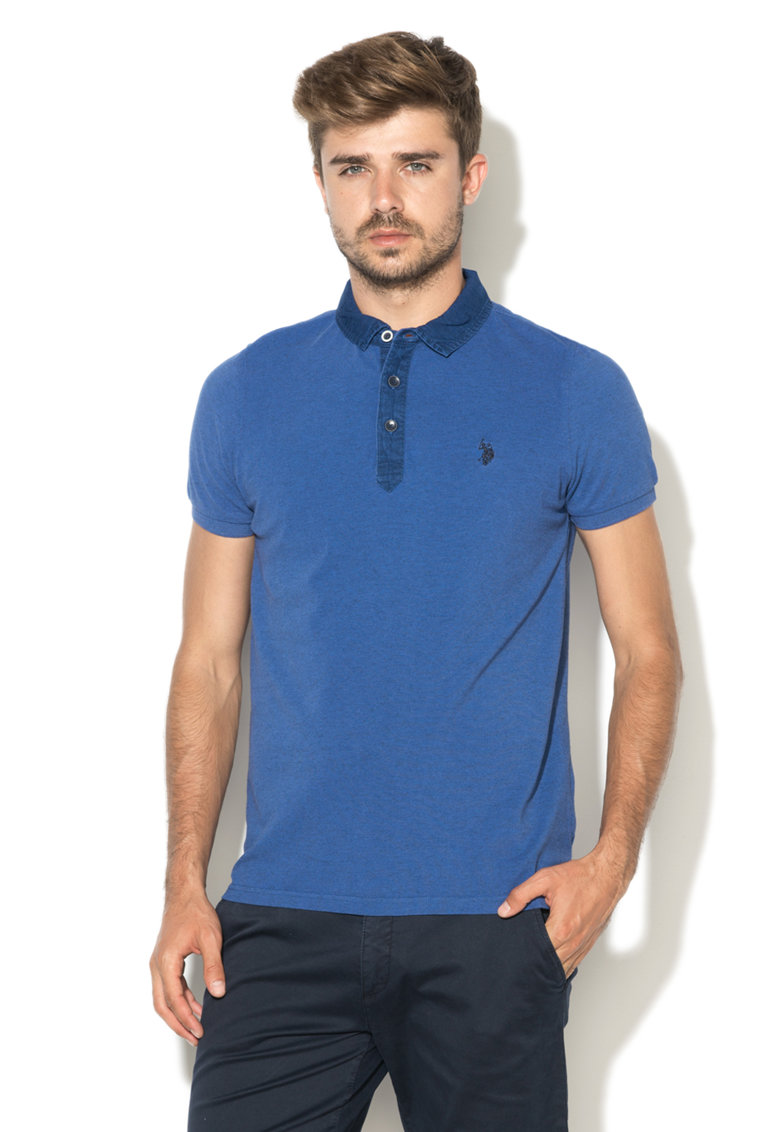 US Polo Assn Tricou polo albastru ultramarin din pique Brandon
