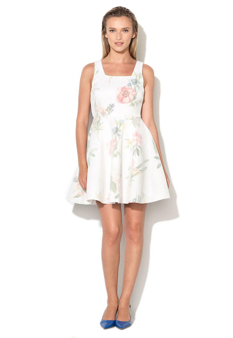 New Look Rochie evazata cu model floral si strat exterior din plasa