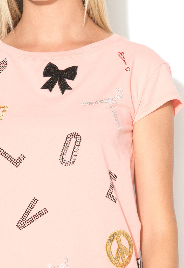 Love Moschino Tricou cu paiete si strasuri