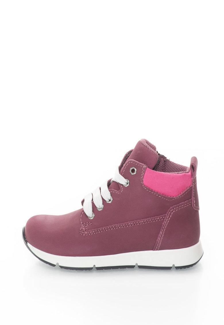 Pantofi sport hi-top de piele nabuc - Bordeaux