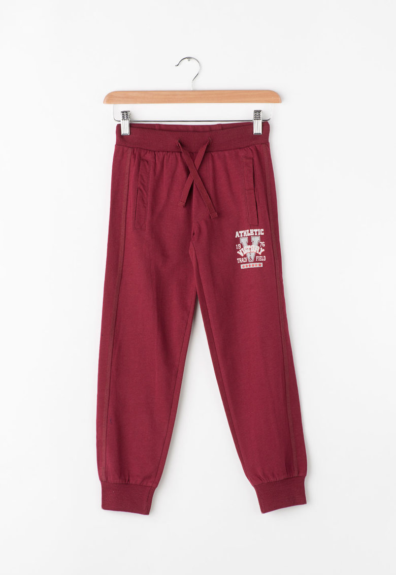 Pantaloni sport cu imprimeu text