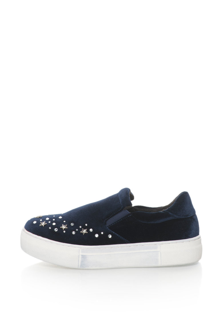Oakoui Pantofi slip-on flatform catifelti cu strasuri Eva
