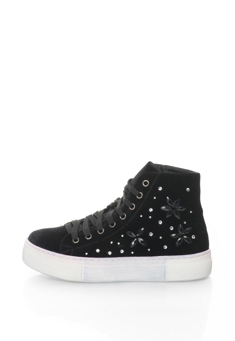 Oakoui Pantofi sport flatform inalti – catifelati – cu strasuri Eva