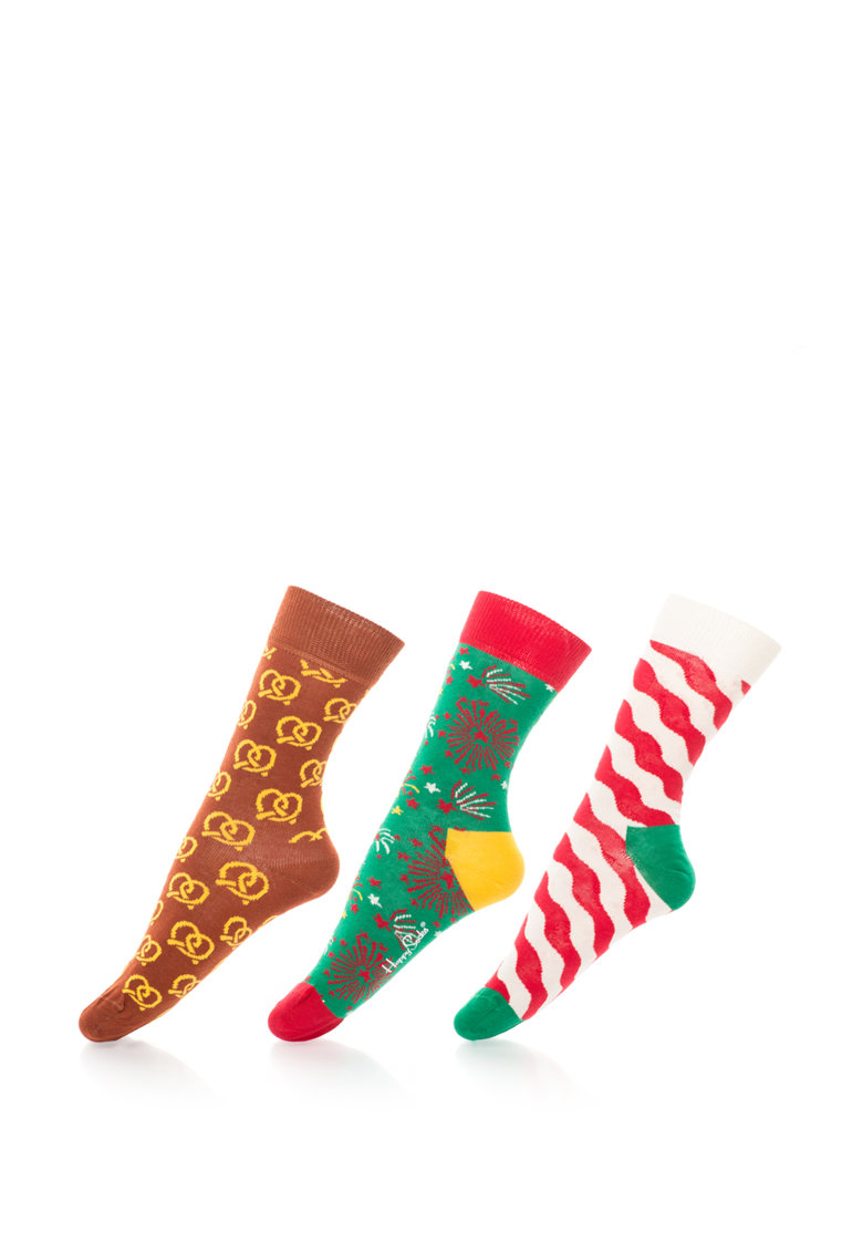 Happy Socks Set cadou de soste 3/4 X-Mas – unisex – 3 perechi