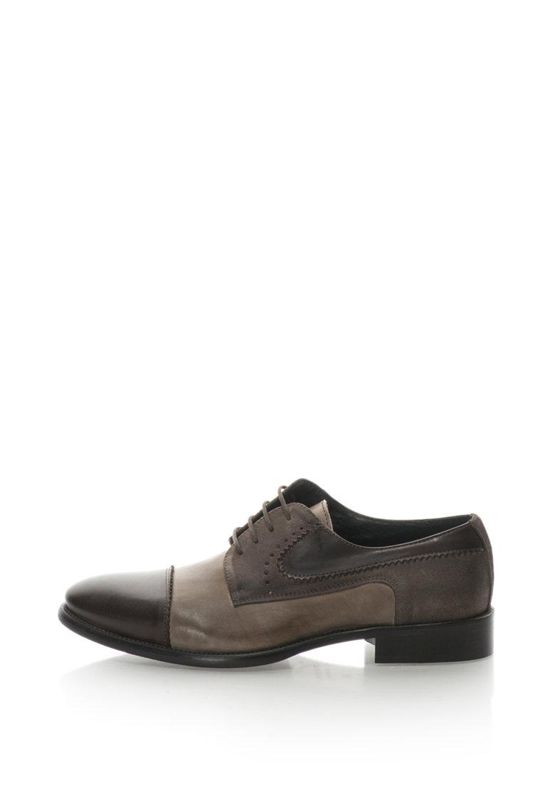 Pantofi derby de piele si piele intoarsa de la Zee Lane