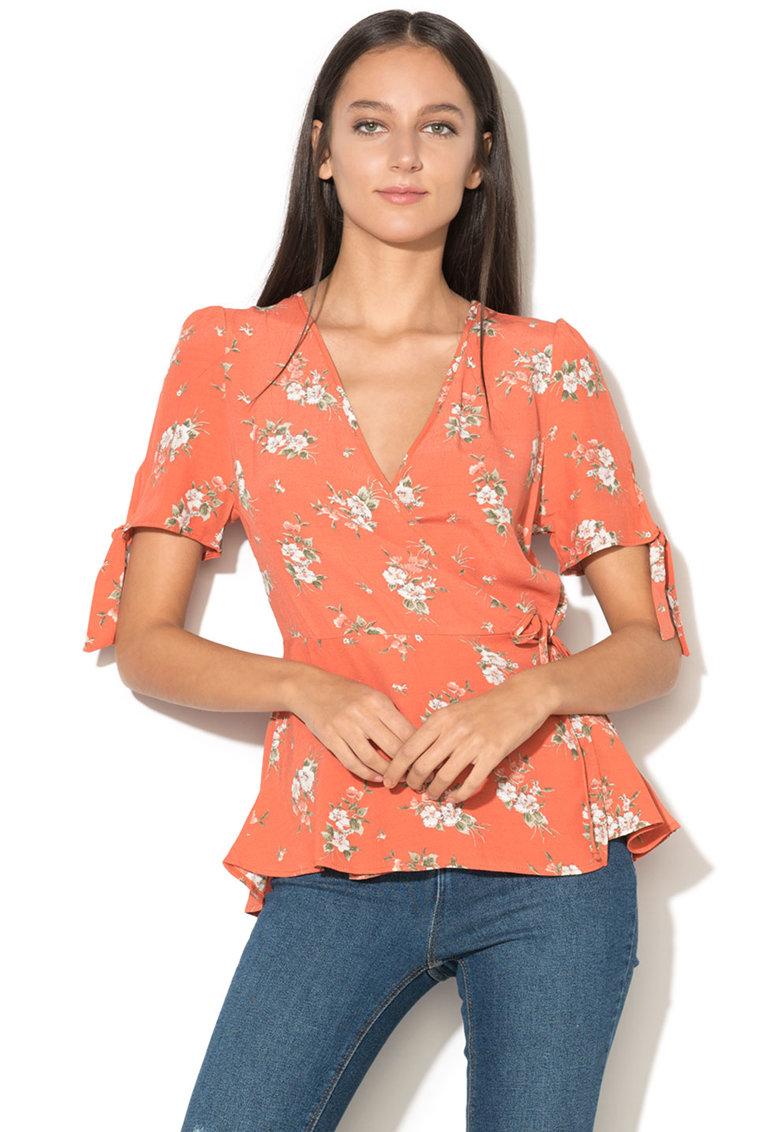 NEW LOOK Bluza cu decolteu adanc in V si cu imprimeu floral