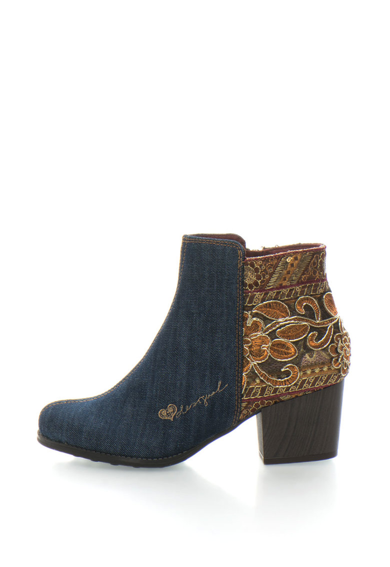 Botine din denim cu aplicatie de paiete Country Exotic de la DESIGUAL