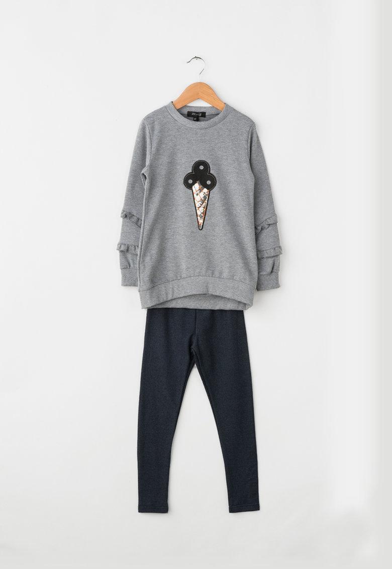 Zee Lane Kids Set de bluza sport si colanti cu aplicatii de blana sintetica