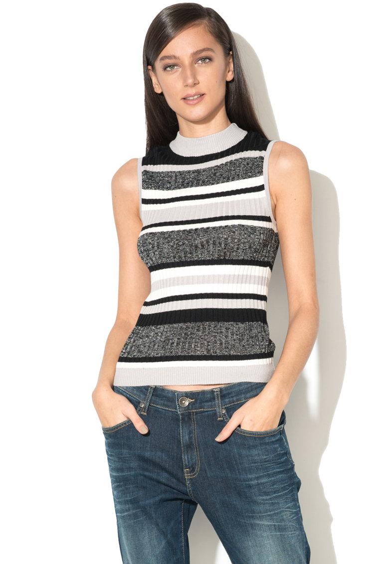 BRAVE SOUL Top tricotat fin cu striatii si insertii de lurex Lucy