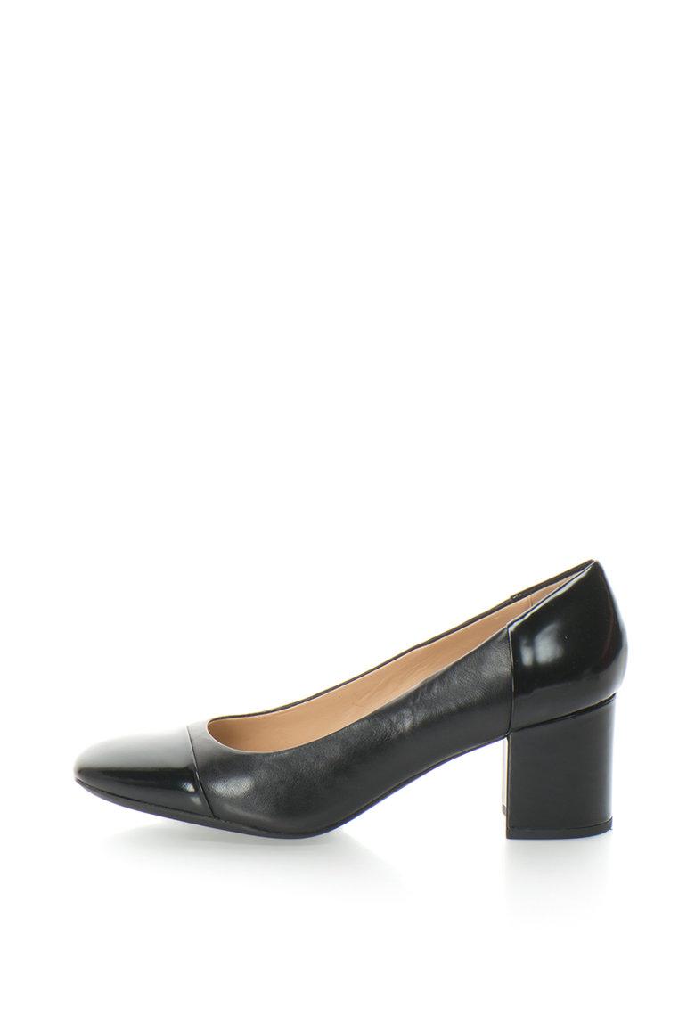 Pantofi cu toc mediu si varf patrat Symphony de la Geox