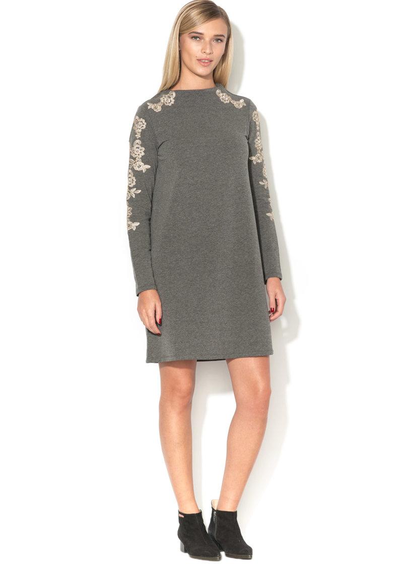 Rochie din jerseu cu insertii de dantela Hannah de la Vero Moda – 10185538-DARK-GREY-MELANGE