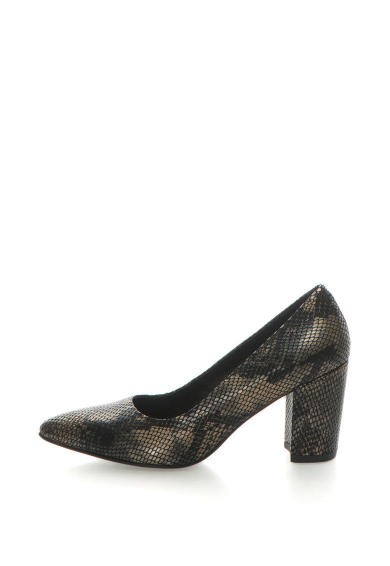 Pantofi de piele cu toc inalt si model reptila Saida de la Vagabond