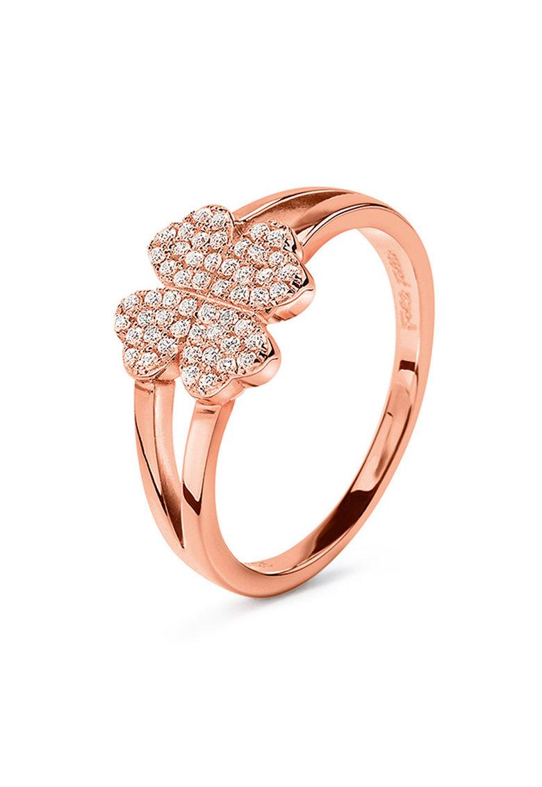 Inel de argint placat cu aur rose cu zirconia de la Folli Follie