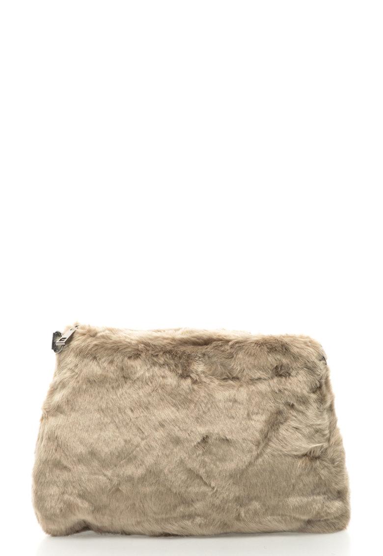 Geanta crossbody din blana sinterica cu bareta din lant de la Oakoui
