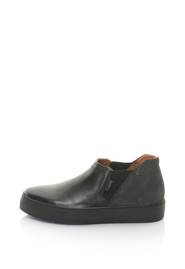 Pantofi Flatform De Piele Si Piele Intoarsa