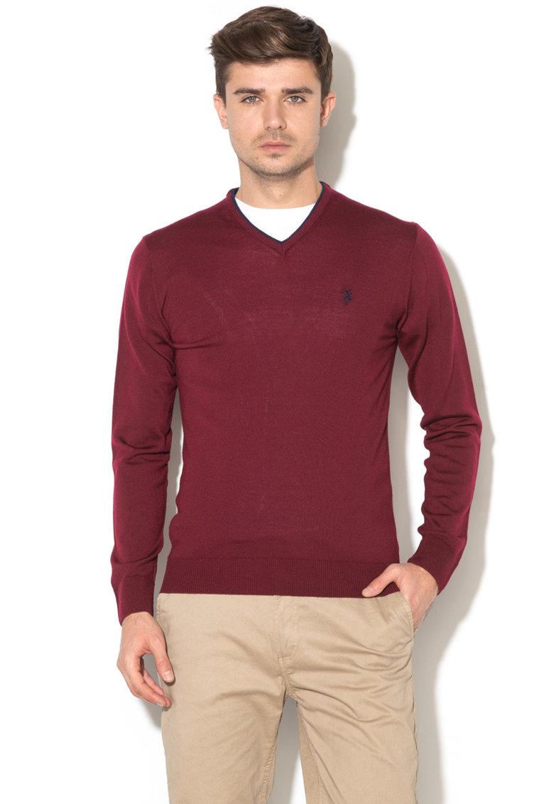 Pulover din tricot fin si lana virgina – cu model logo de la US Polo Assn