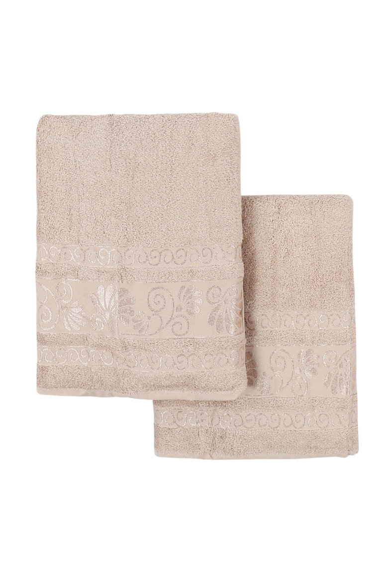 Şal Beige Bath Towels Set With Embroidered Pattern - 2 Pieces thumbnail