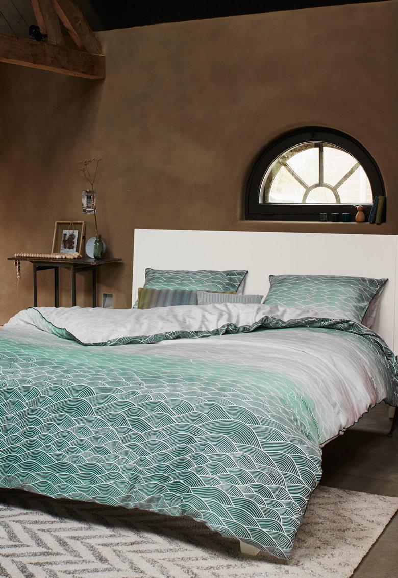 Set de pat cu model grafic Evan - Verde/Alb thumbnail