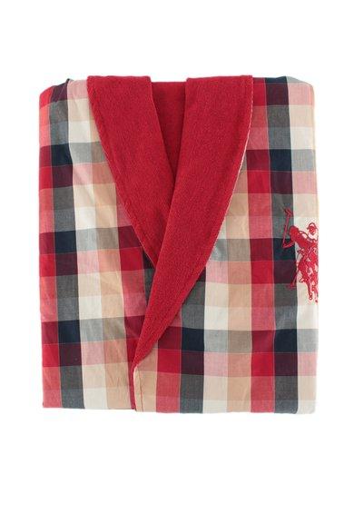 FashionDays.ro: Halat de baie rosu cu bleumarin si bej in carouri US Polo Assn