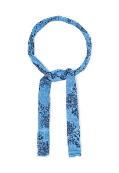 Esarfa albastra cu imprimeu floral Acanto