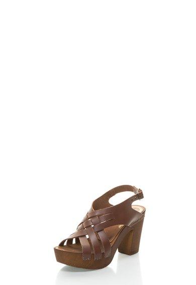 FashionDays.ro: Sandale maro din piele cu barete incrucisate Levis
