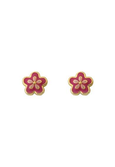 LMTS Cercei cu tija roz aprins cu roz in forma de floare