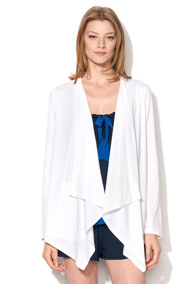 Cardigan alb asimetric elastic Pima