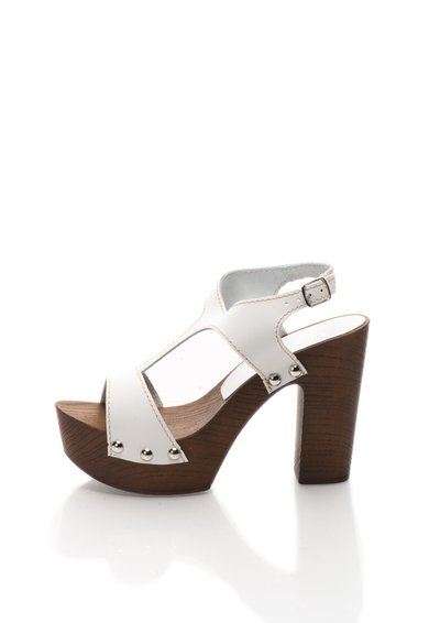 Versace 19.69 Abbigliamento Sportivo Sandale albe din piele cu bareta pe glezna Sofia