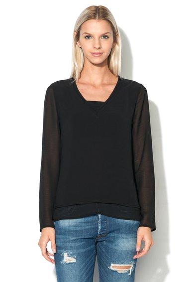 Eleven Paris Bluza neagra transparenta cu design suprapus Poison