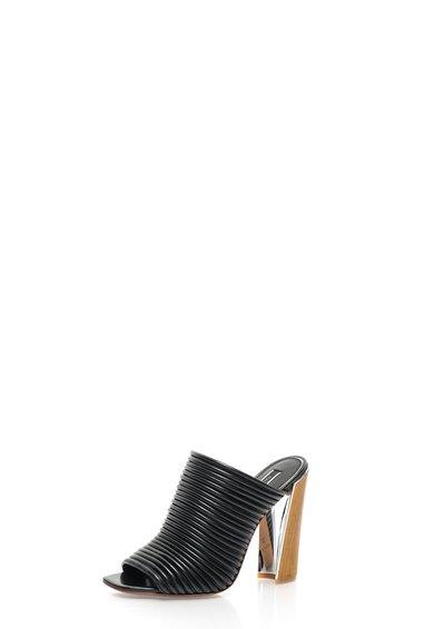 Papuci negri din piele cu toc din lemn Seneca de la Rachel Zoe