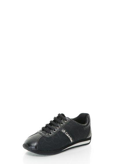 Pantofi casual negri cu model logo Fergie