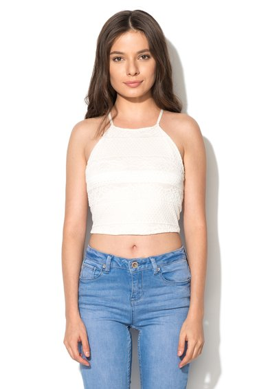Top crop alb fildes din dantela de la New Look