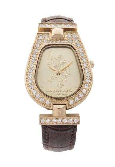 Ceas auriu cu maro inchis decorat cu cristale de la U.S. Polo Assn.