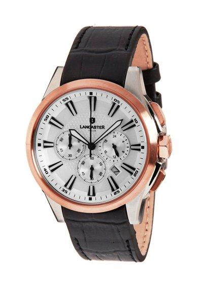 Lancaster Ceas cronograf negru cu o curea din piele Apollo