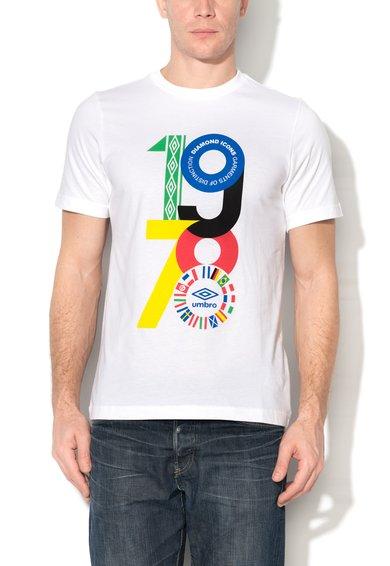 Tricou alb cu imprimeu logo multicolor de la Umbro