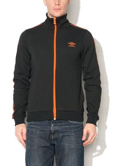 Bluza sport negru cu oranj cu fermoar si logo
