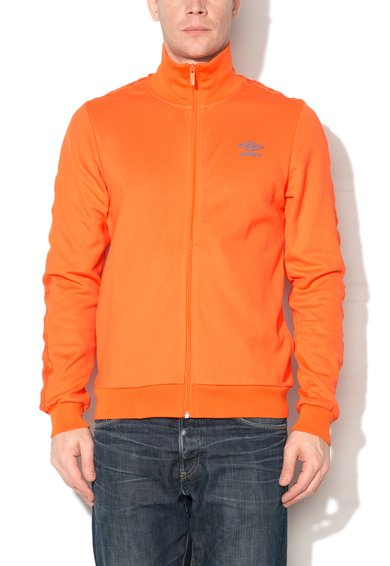 Bluza sport oranj cu fermoar si logo