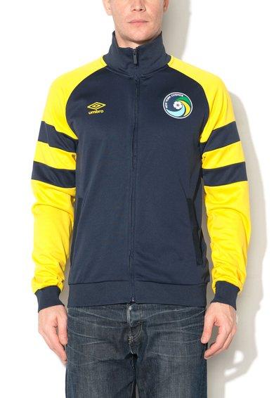 Bluza sport albastru ultramarin cu galben cu fermoar