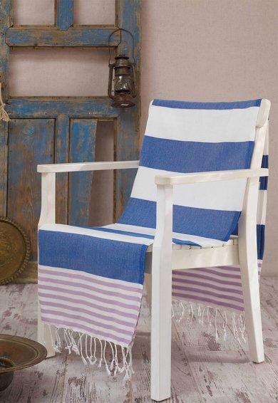 Prosop Fouta alb cu dungi albastre si violet Antalya