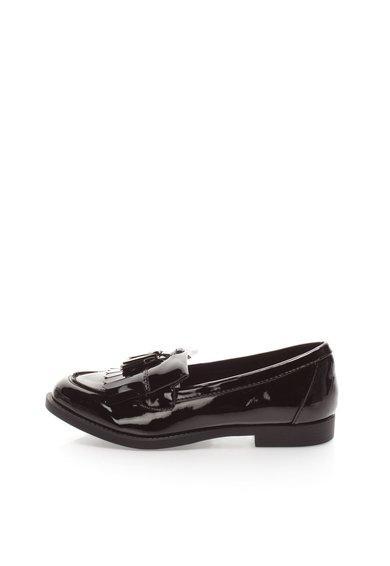 Pantofi loafer negri lacuiti